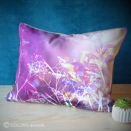 Coussin original Imagine, violet, fabriqué en France.