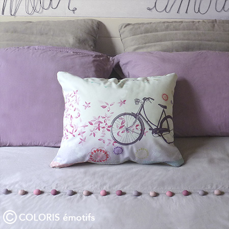 Coussin rose pastel imprimé made in France