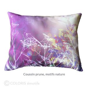 Imagine – Coussin prune, imprimé nature